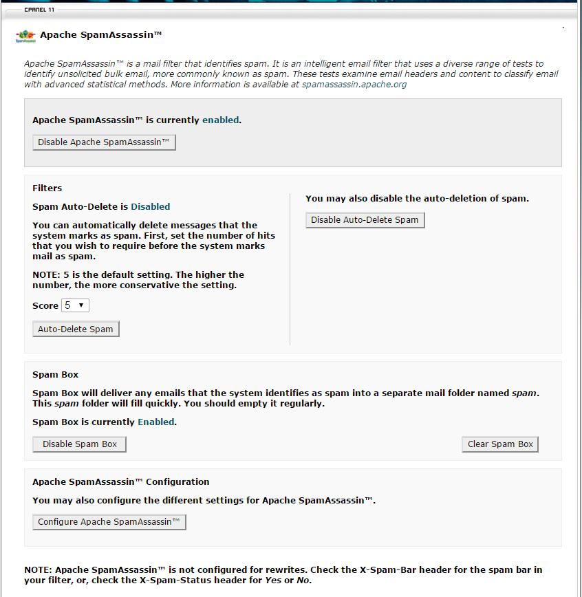 Apache SpamAssassin CPanel UI